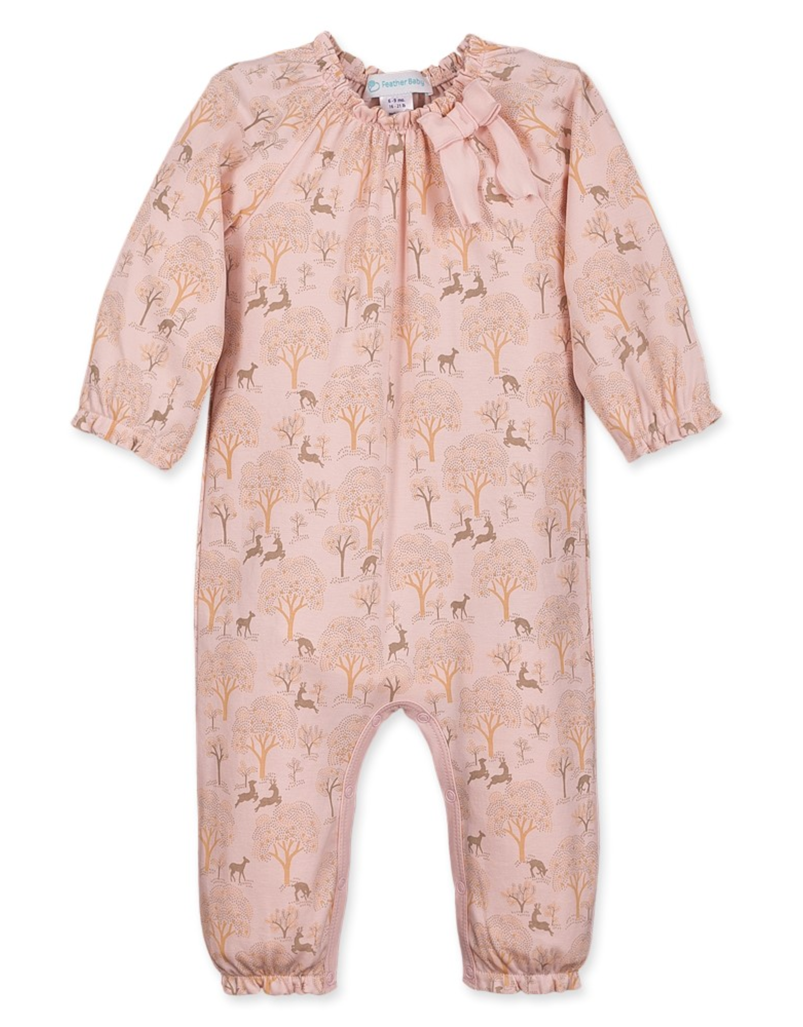 feather baby Bow Romper in Deer & Appletree