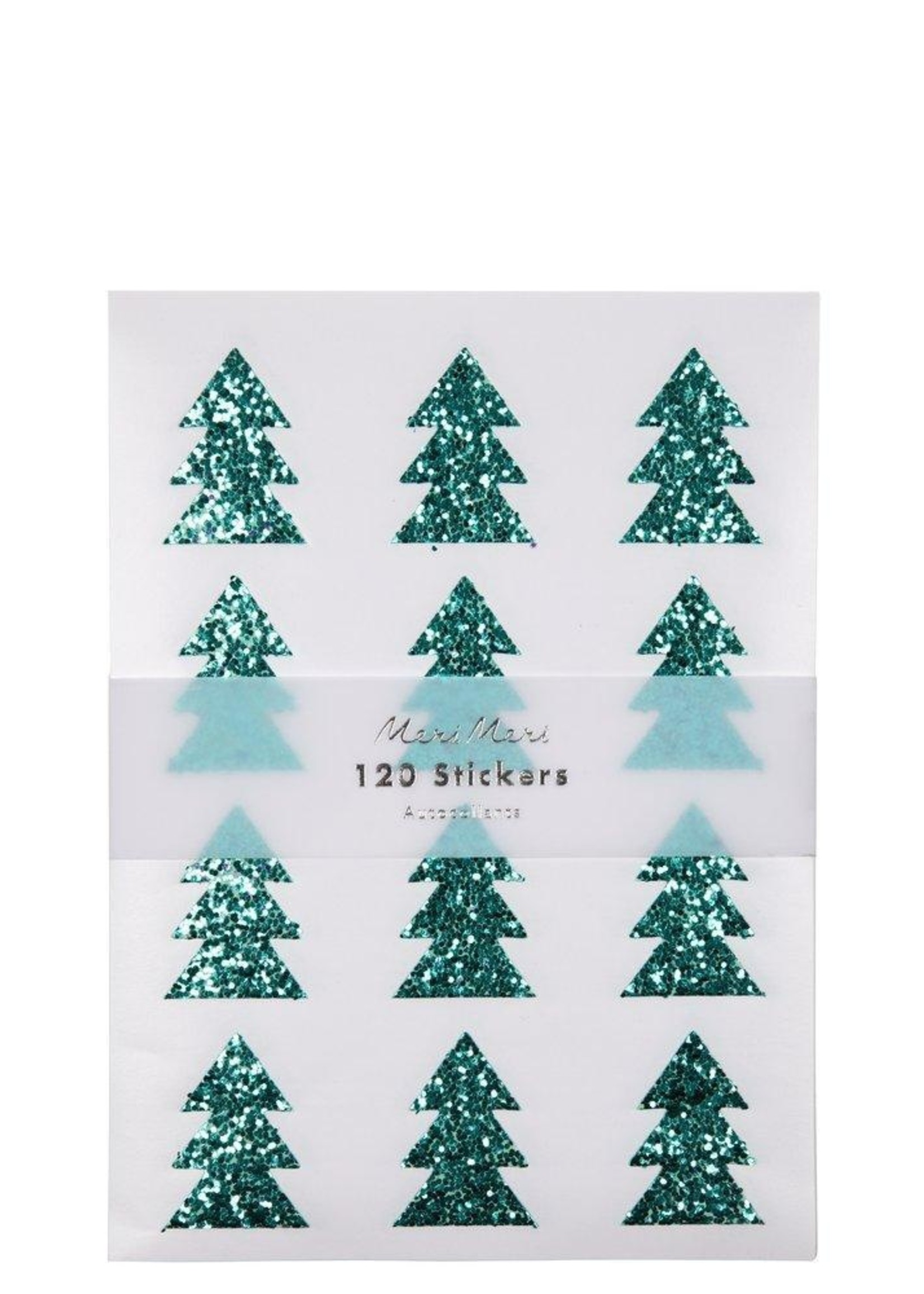 meri meri Green Glitter Tree Sticker Sheets