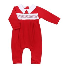 magnolia baby Classic Red Smocked Collared Playsuit