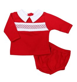 magnolia baby Red Smocked Classic Collared Long Sleeve Diaper Set