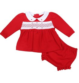 magnolia baby Classic Red Smocked Long Sleeve Ruffled Diaper Cover Set