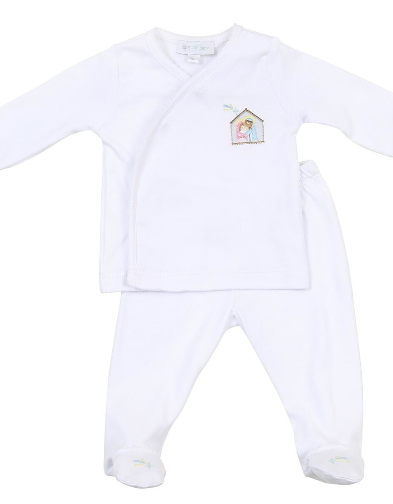 magnolia baby Silent Night White Embroidered Footed Pant Set