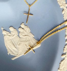 Helmsie Single Gold Plated  Cross Necklace