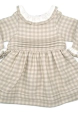 coquelicot Ivory and Beige Plaid Dress and Bloomer Set