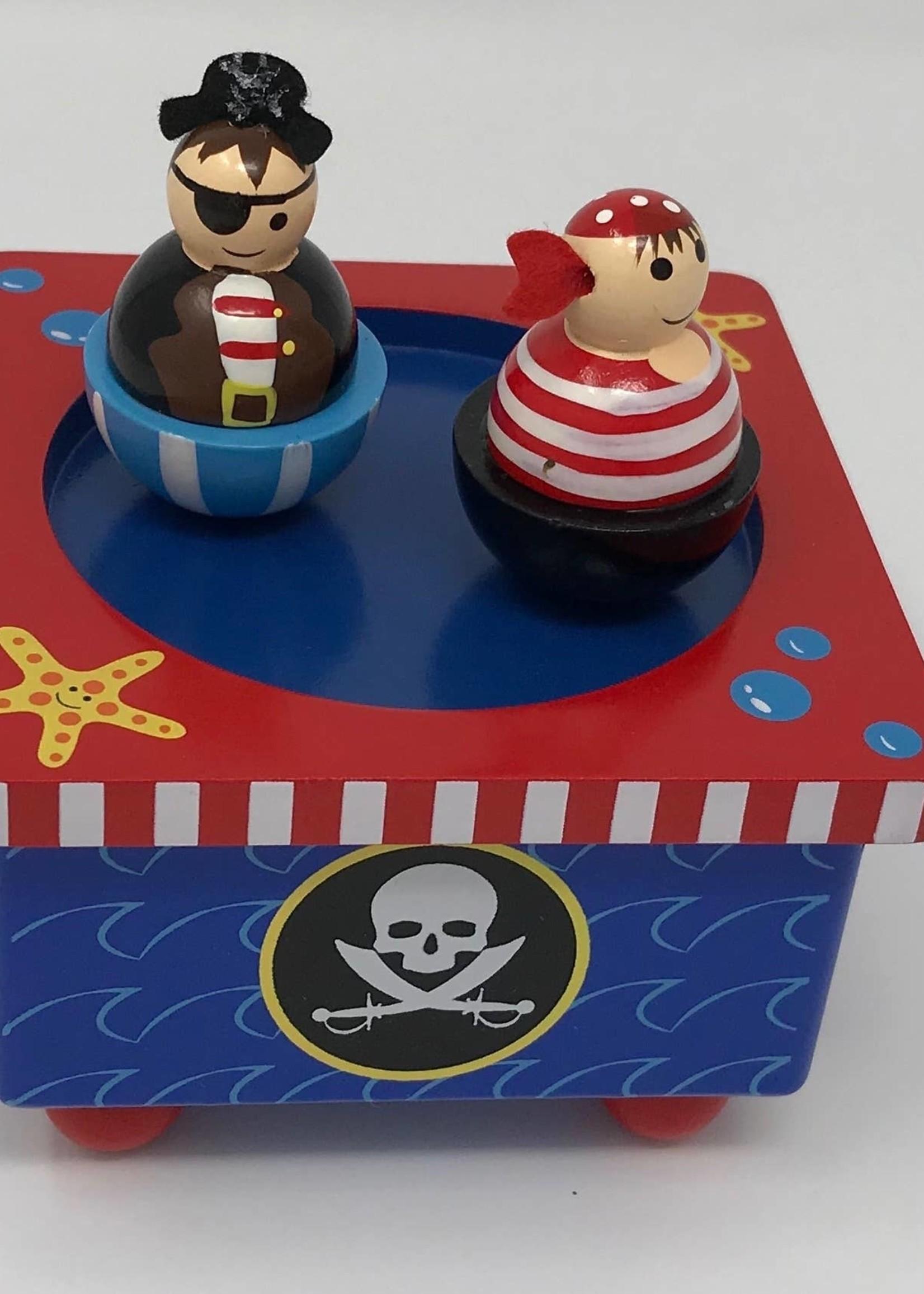 Pink Poppy Spinning Pirate Music Box