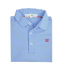 bald head blues Albatross Polo Marine and White Stripe