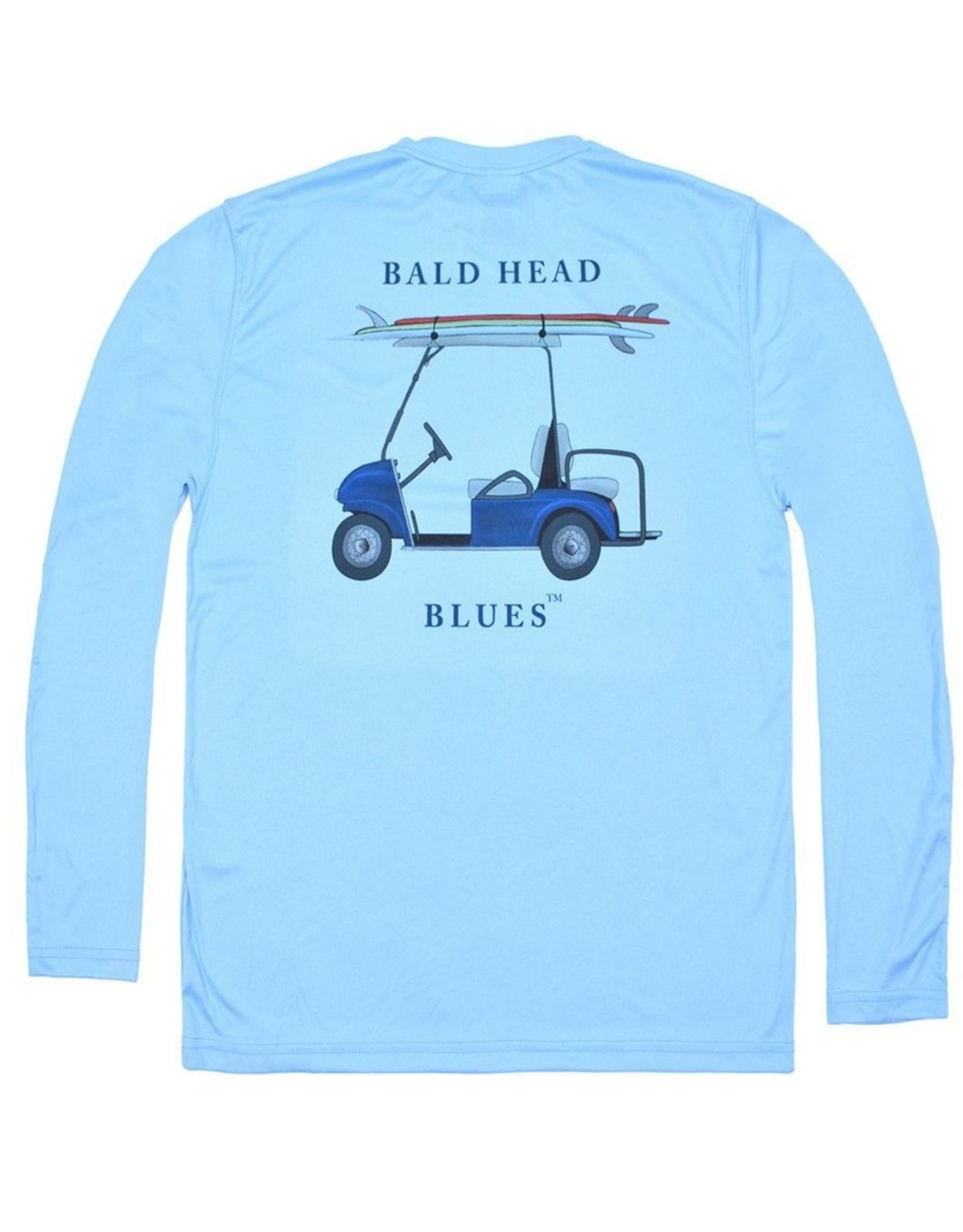 bald head blues Youth Performance Long Sleeve Golf Cart Tee