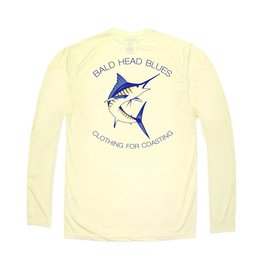 bald head blues Youth Performance Yellow Marlin Long Sleeve tee