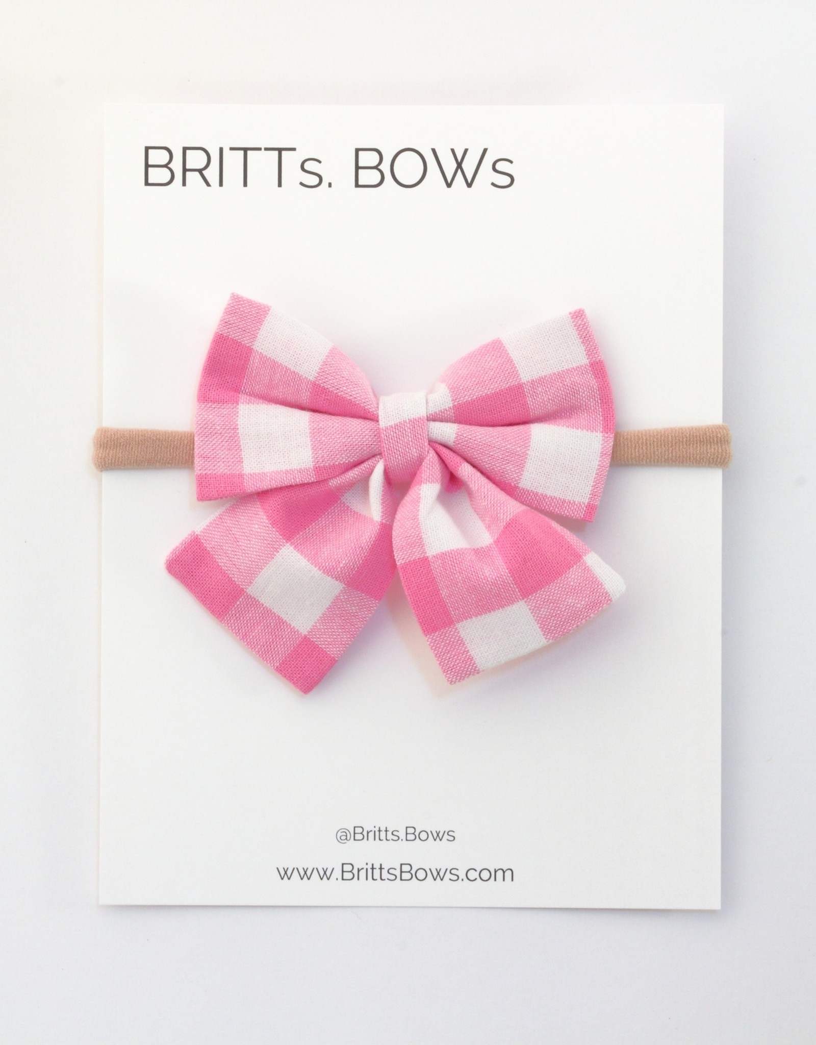 Britts bows Pink and White Gingham Headband