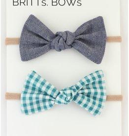 Britts bows Teal Gingham/Chambray Headband