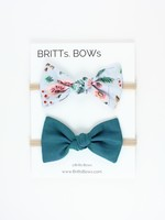 Britts bows Light Blue Floral/Teal Headband