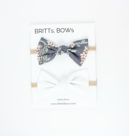 Britts bows Dusty Floral/White Headband