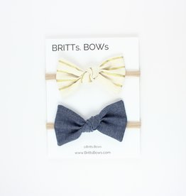 Britts bows Gold Stripe/Chambray Headband