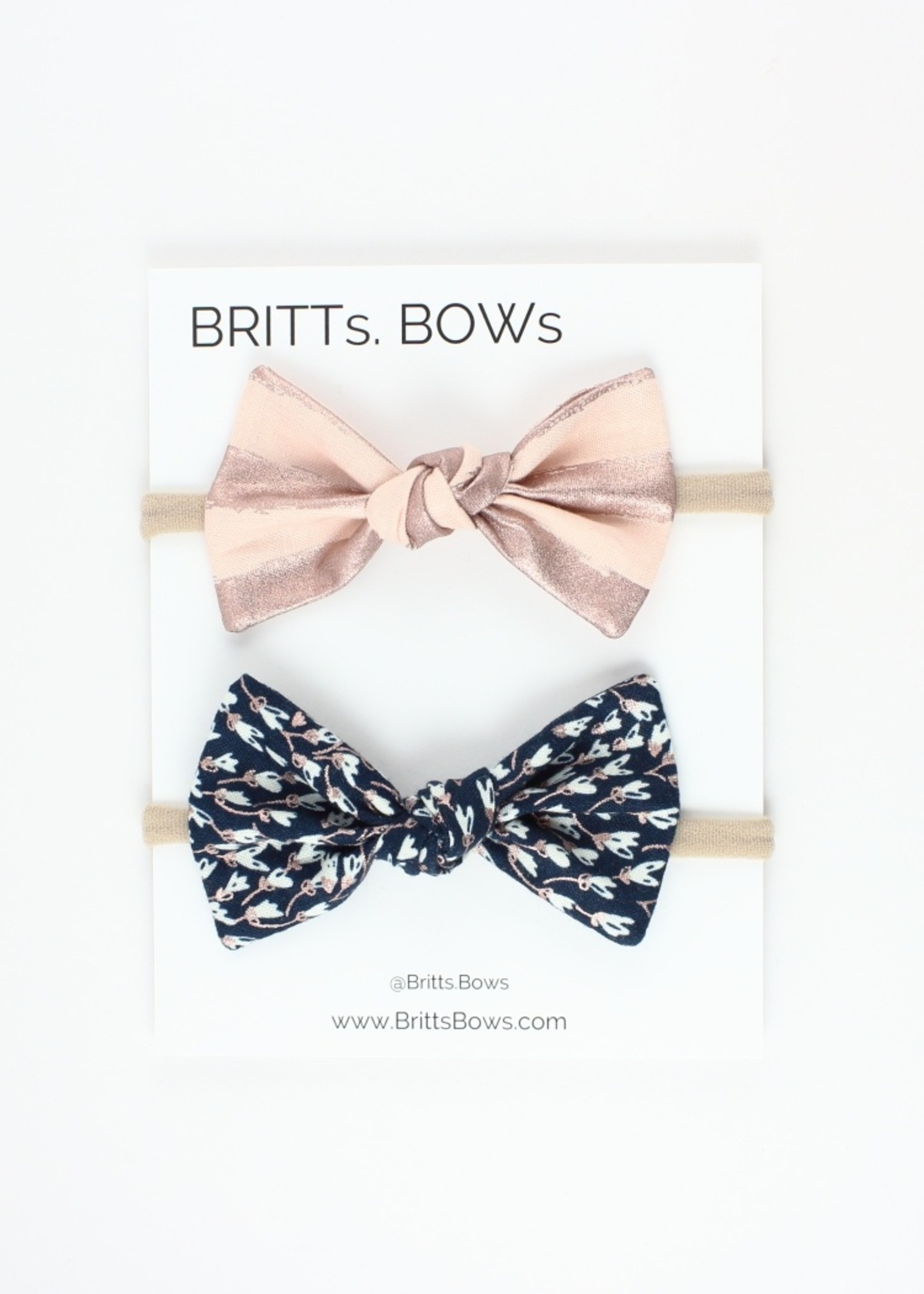 Britts bows Rose Gold/Navy Floral Headband