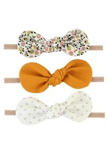 Britts bows Mustard/Floral/Silver Dot Set of 3