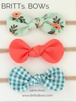 Britts bows Mint Floral/Coral/Teal Gingham Set of 3