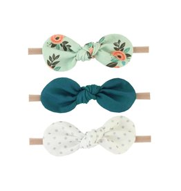 Britts bows Mint Floral/Teal/Silver Dot Set of 3