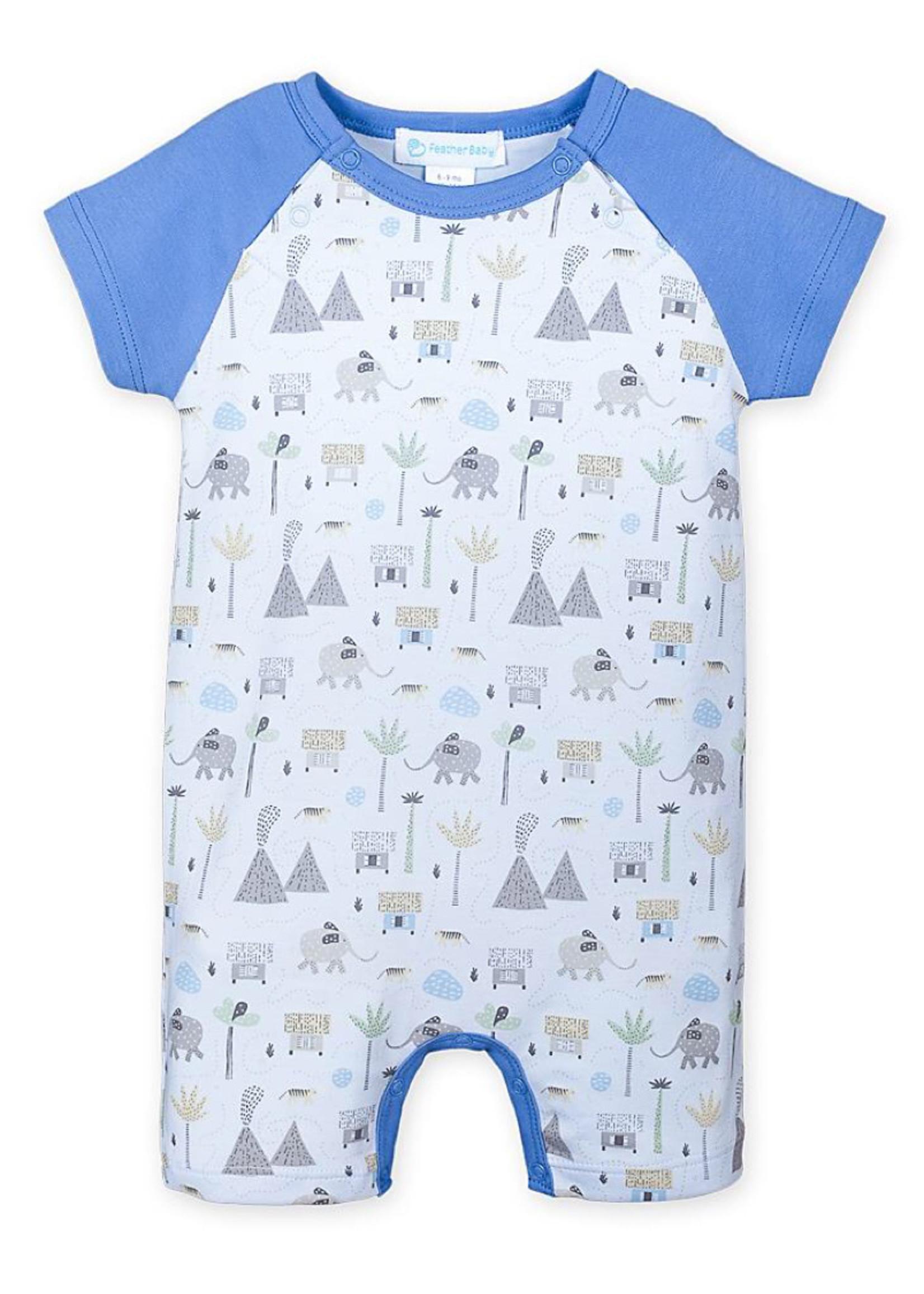 feather baby Volcanos & Elephants Baby Blue Romper
