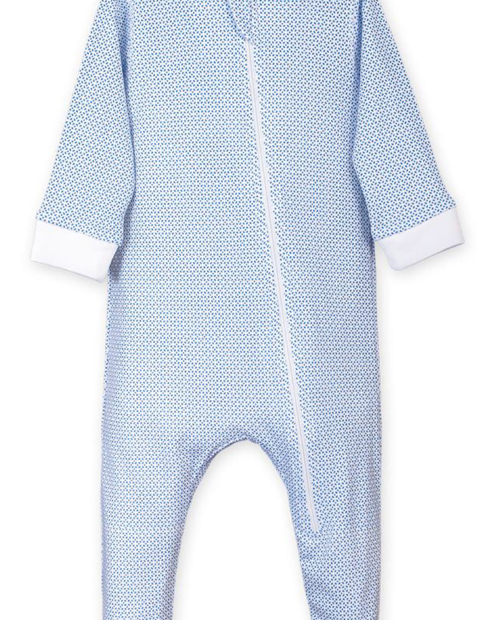 feather baby Tiny Geo on White Zippered Footie