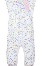feather baby Pintas Blue on White Bow Romper