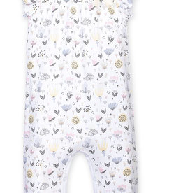 feather baby Kim Floral on White Bow Romper