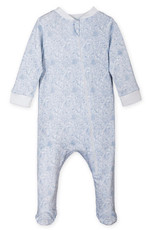 feather baby Sylvia Floral on White Zippered Footie