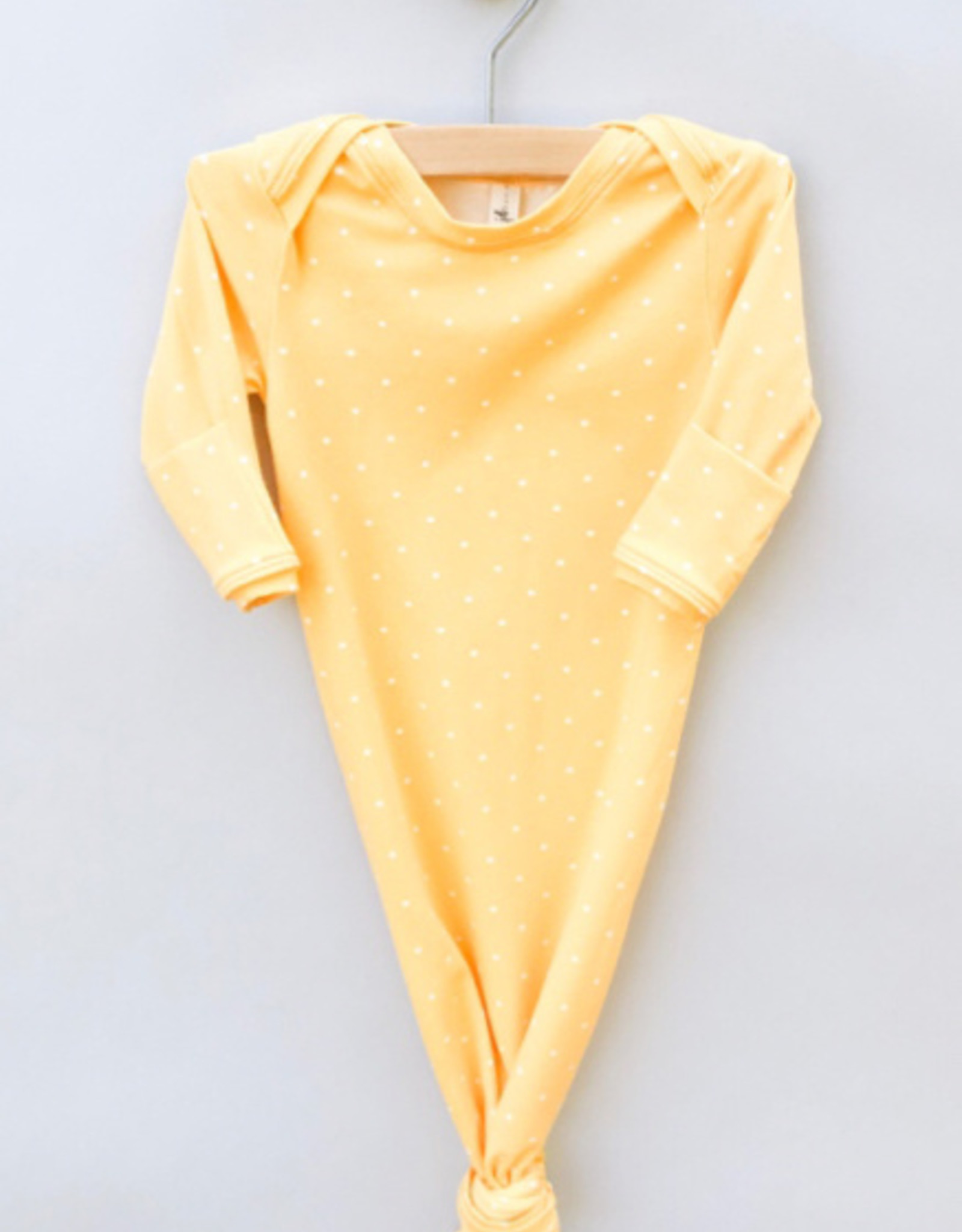 Jack Davis apparel Yellow Dot Knotted Sleep Gown 0-3m