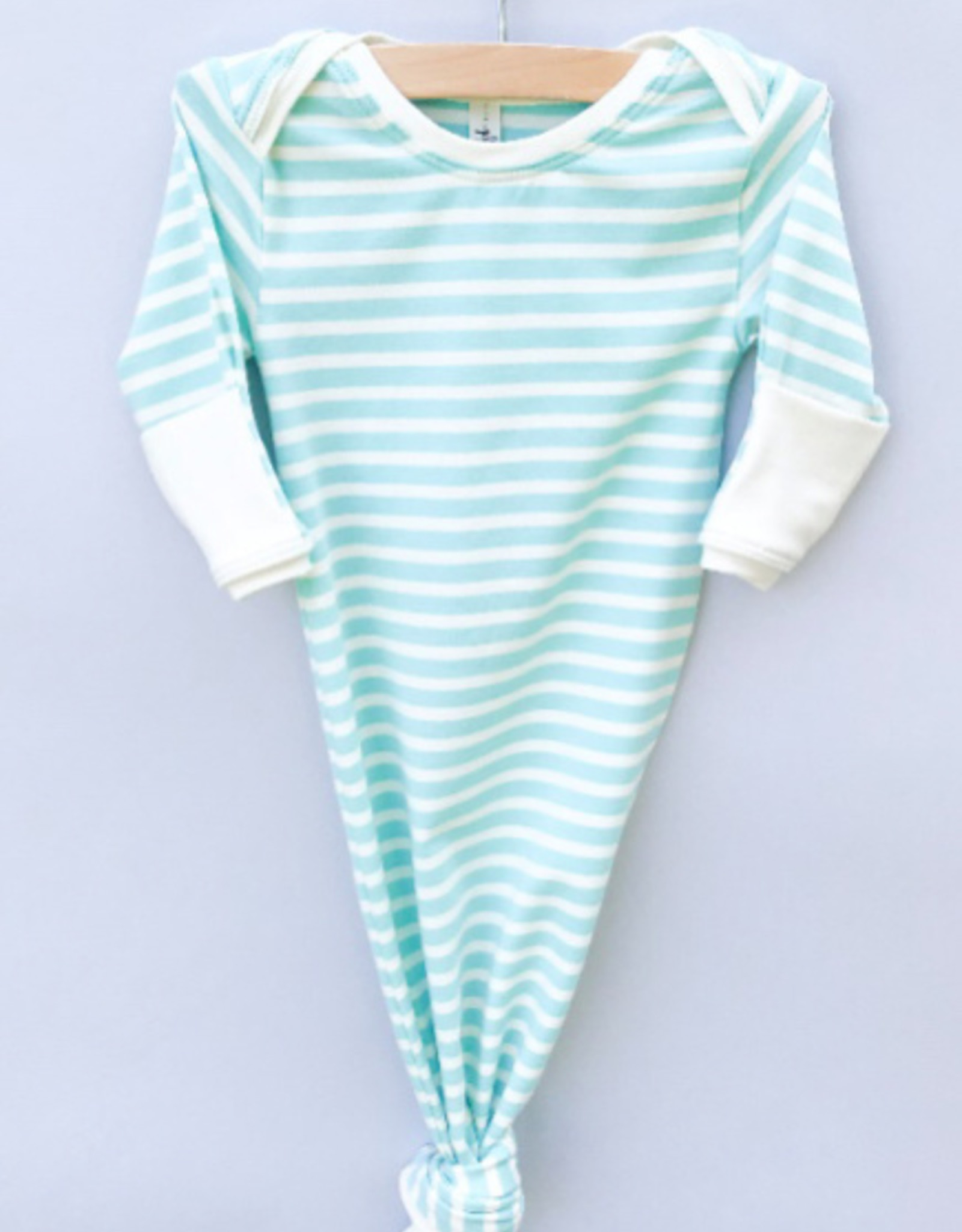 Jack Davis apparel Aqua Stripe Knotted Sleep Gown 0-3m