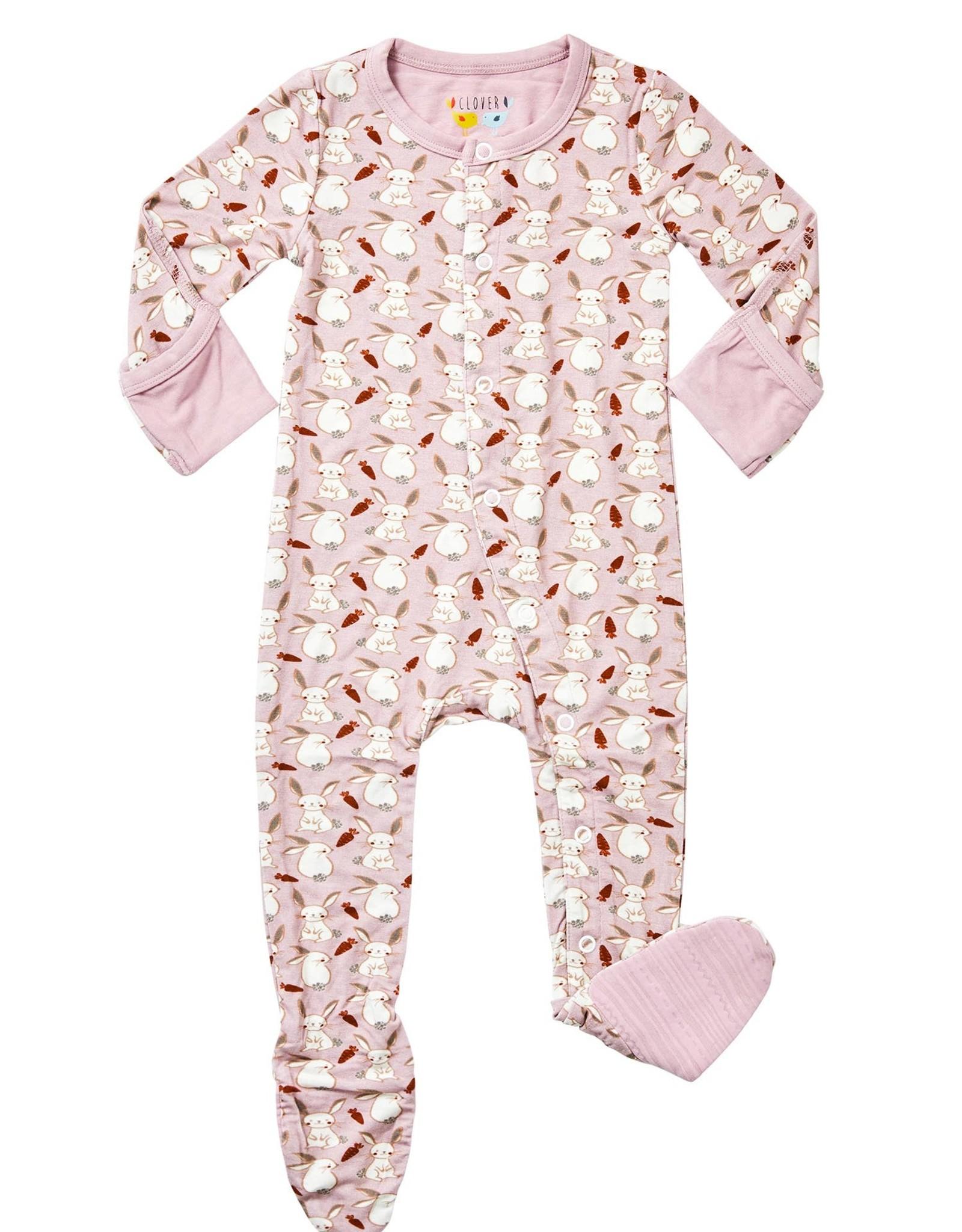 clover baby and kids Bunnies Footie PJs