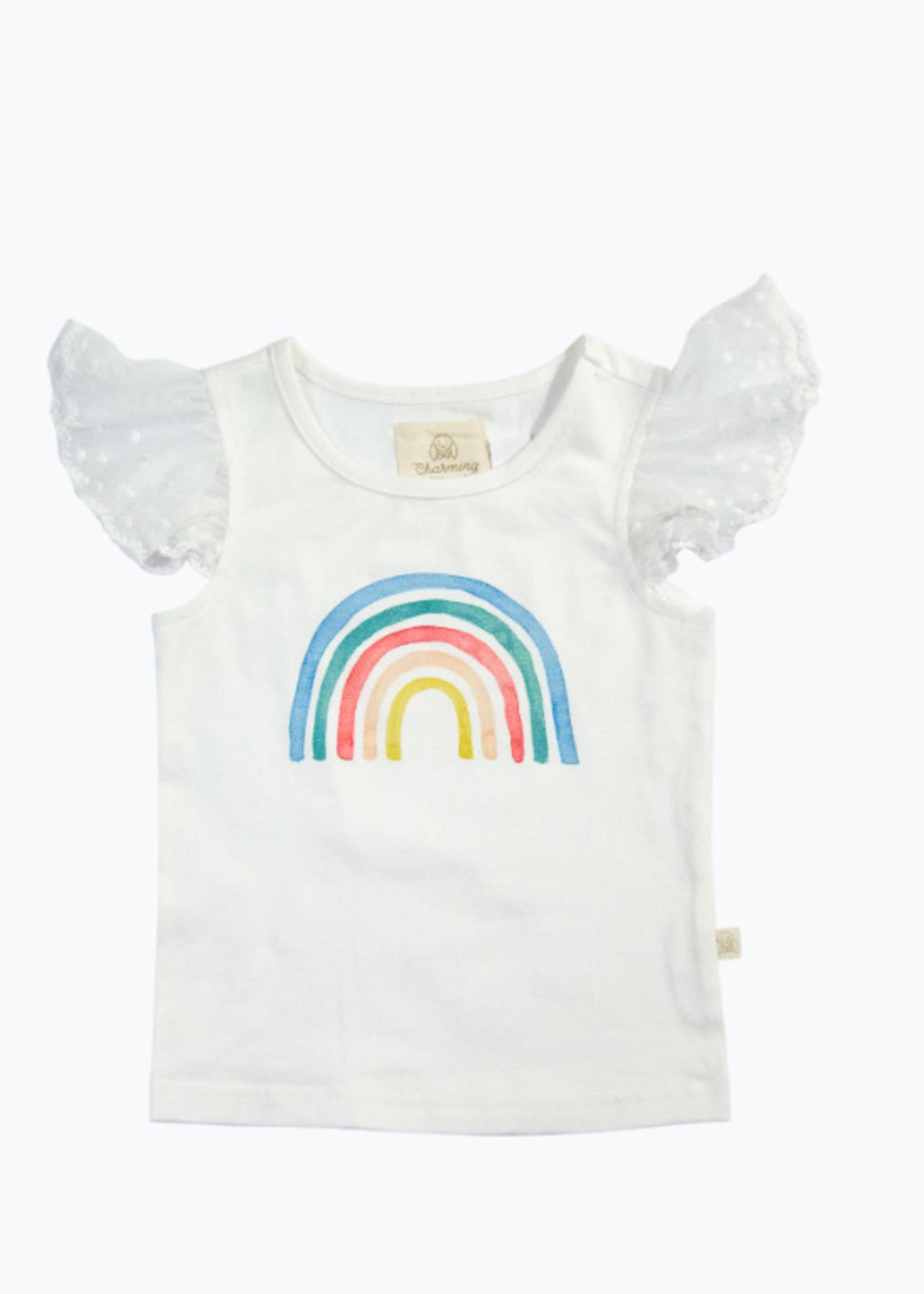 charming mary Tally Tee- Watercolor Rainbow