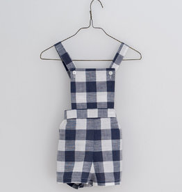 Little Cotton clothes Cramer short dungarees  in textured gingham