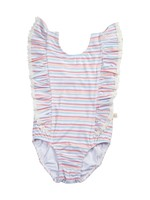 charming mary Rosie Ruffle Swim One Piece- Retro Rainbow Stripe