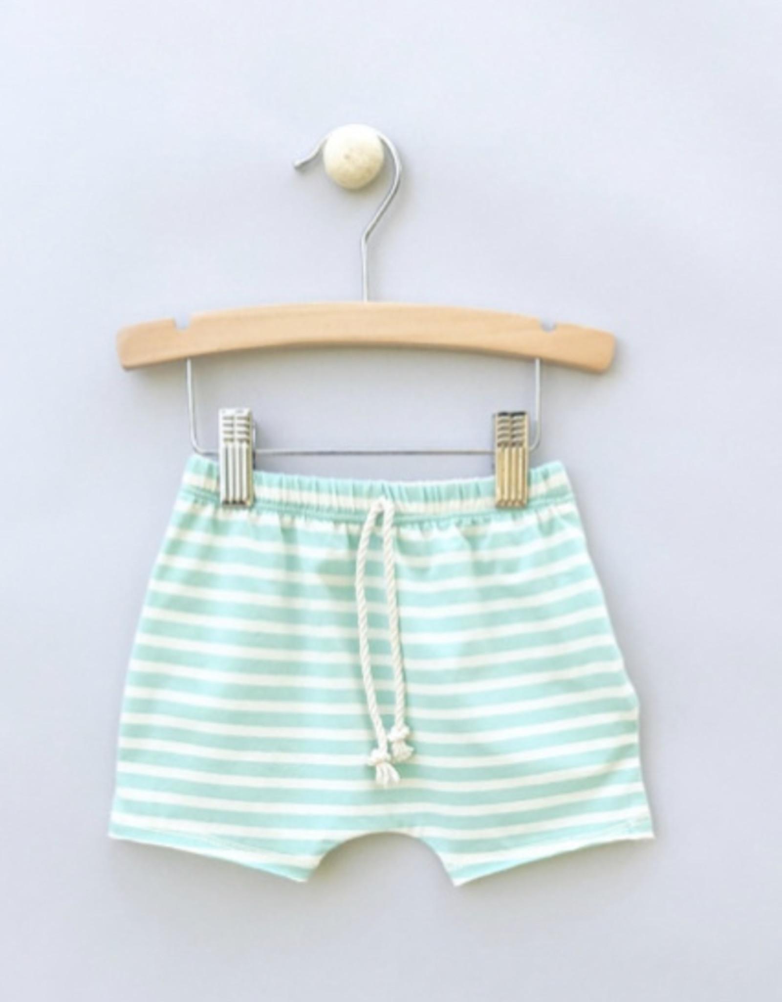 Jack Davis apparel Aqua Stripe Raw Edge Shorts