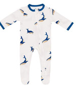 Kyte baby Whale print zippered footie