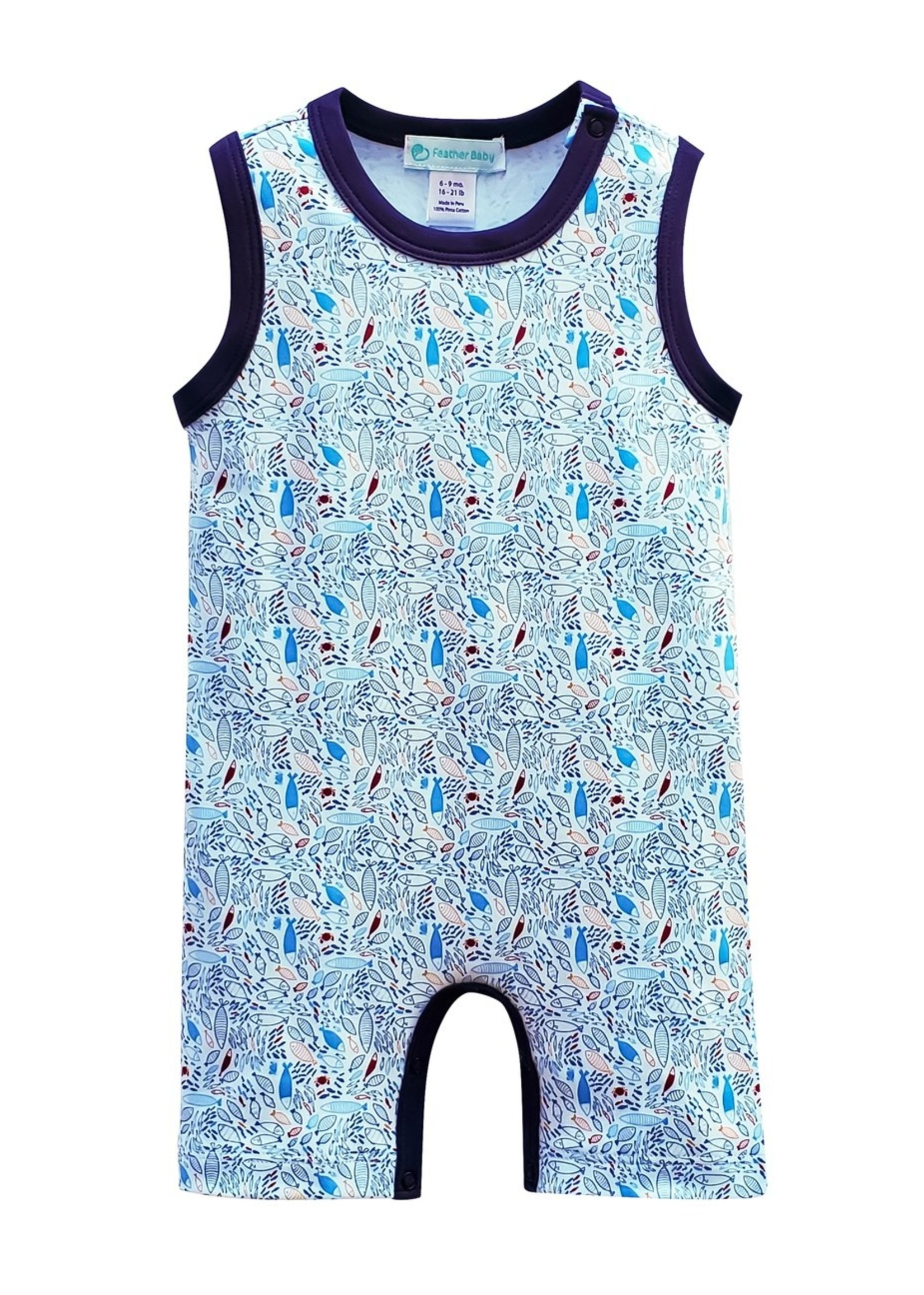 feather baby Crowded Fish- Red on Baby Blue Tank Romper