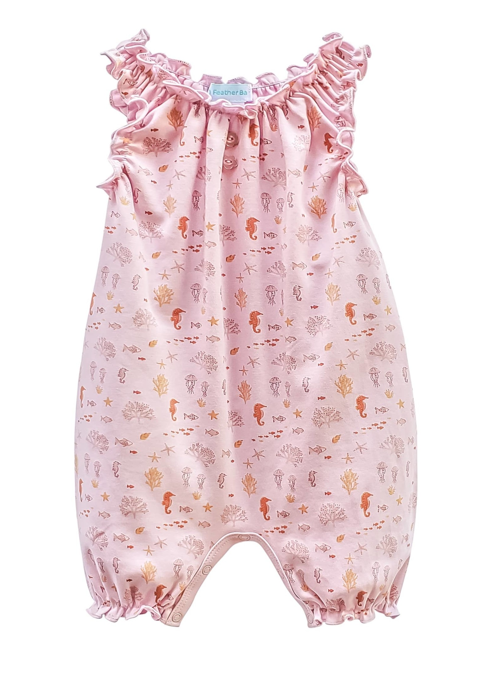 feather baby Reef- Cantaloupe on Soft Pink Sleeveless Romper