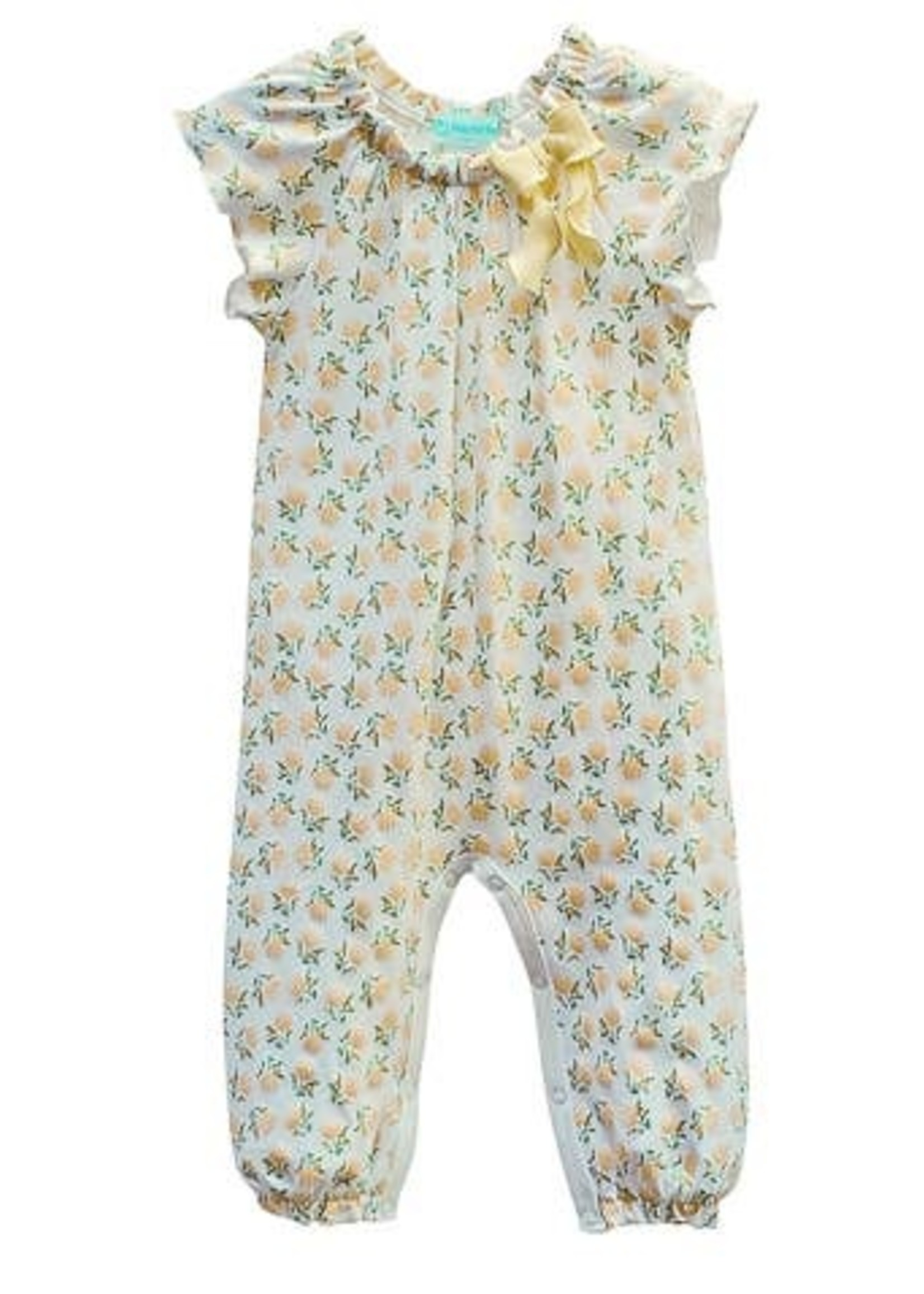 feather baby Dora- Yellow on White Bow Romper