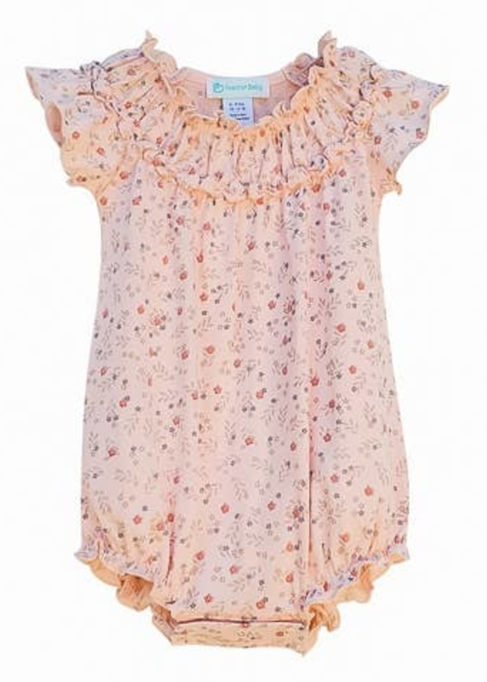 feather baby Maya- Blue on Coral Ruched Bubble