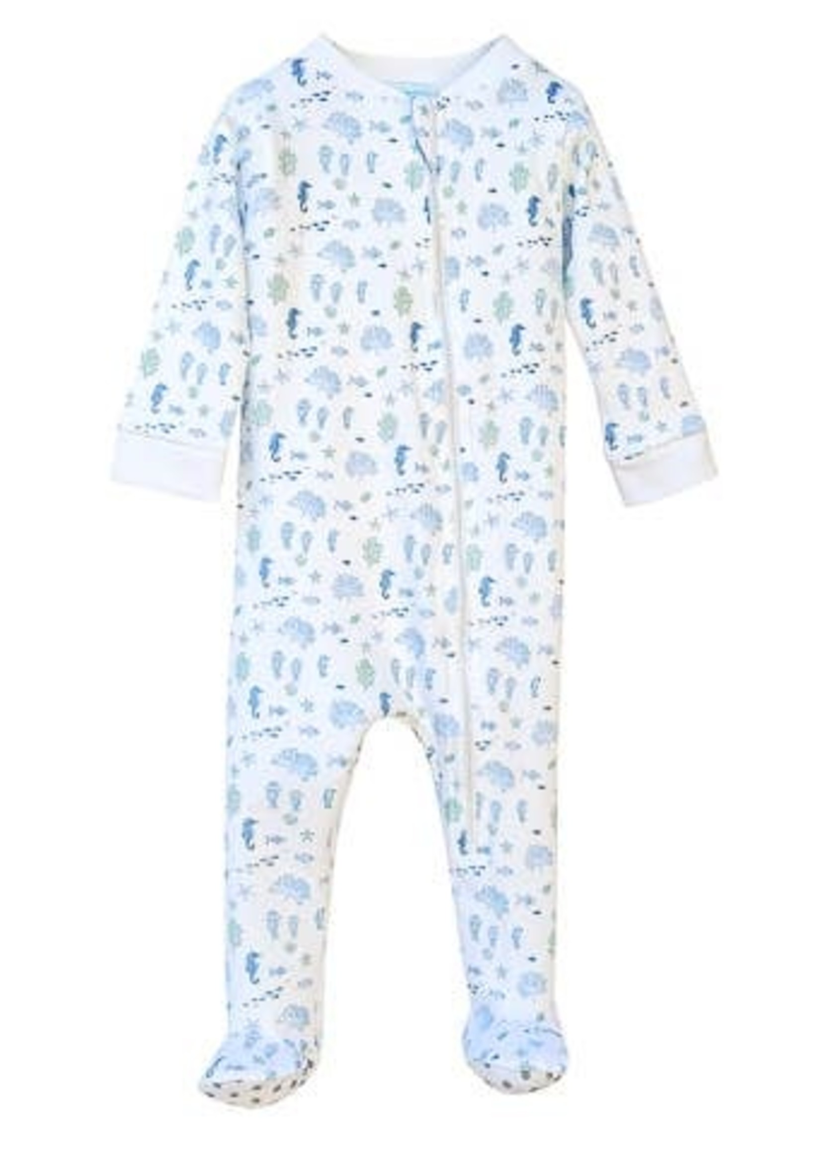 feather baby Reef- Blue on White Zipper Footie