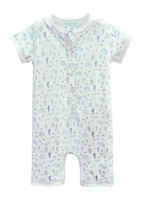 feather baby Reef- Blue on White Henley Romper