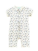 feather baby Kenya- Blue on White Henley Romper