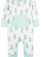 feather baby Patient Fox- White Kangaroo Romper