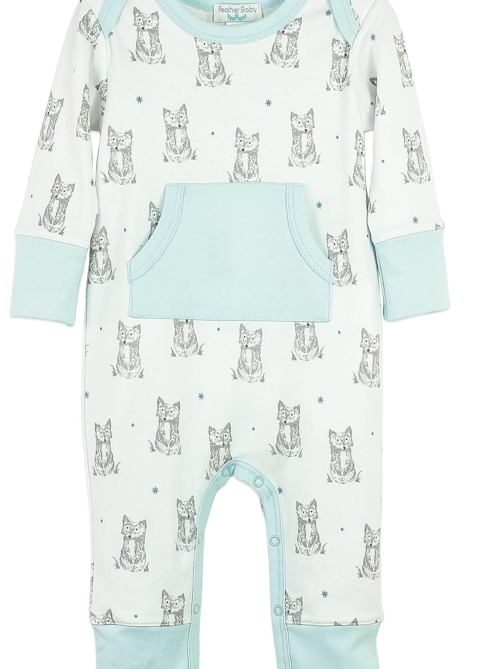 feather baby Patient Fox- White Kangaroo Romper