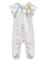 feather baby Maya- Periwinkle on White Bow Romper