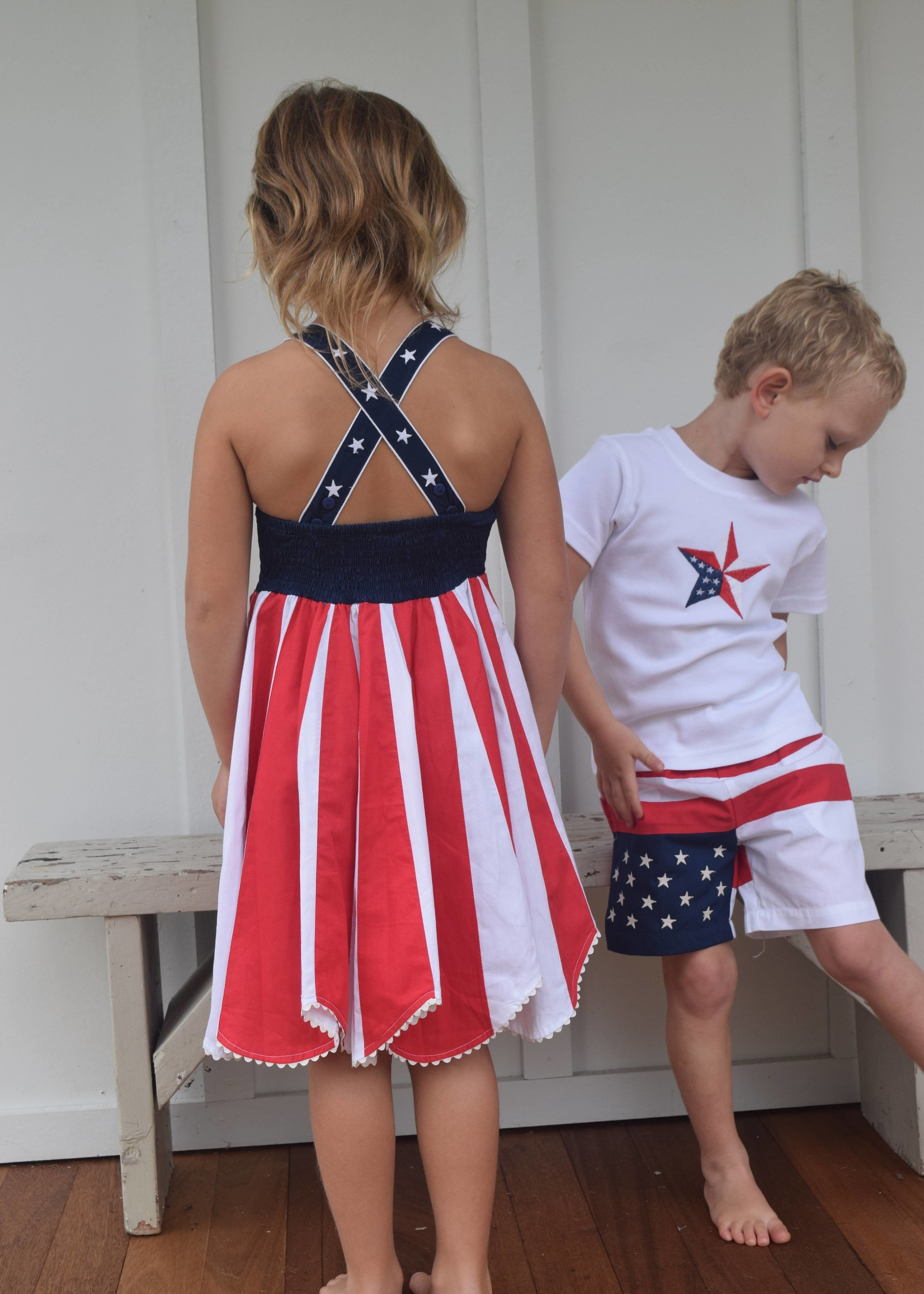 Cotton kids Red, White, and Blue Shorts
