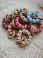 Three Hearts Silicone and Beech Wood Teethers