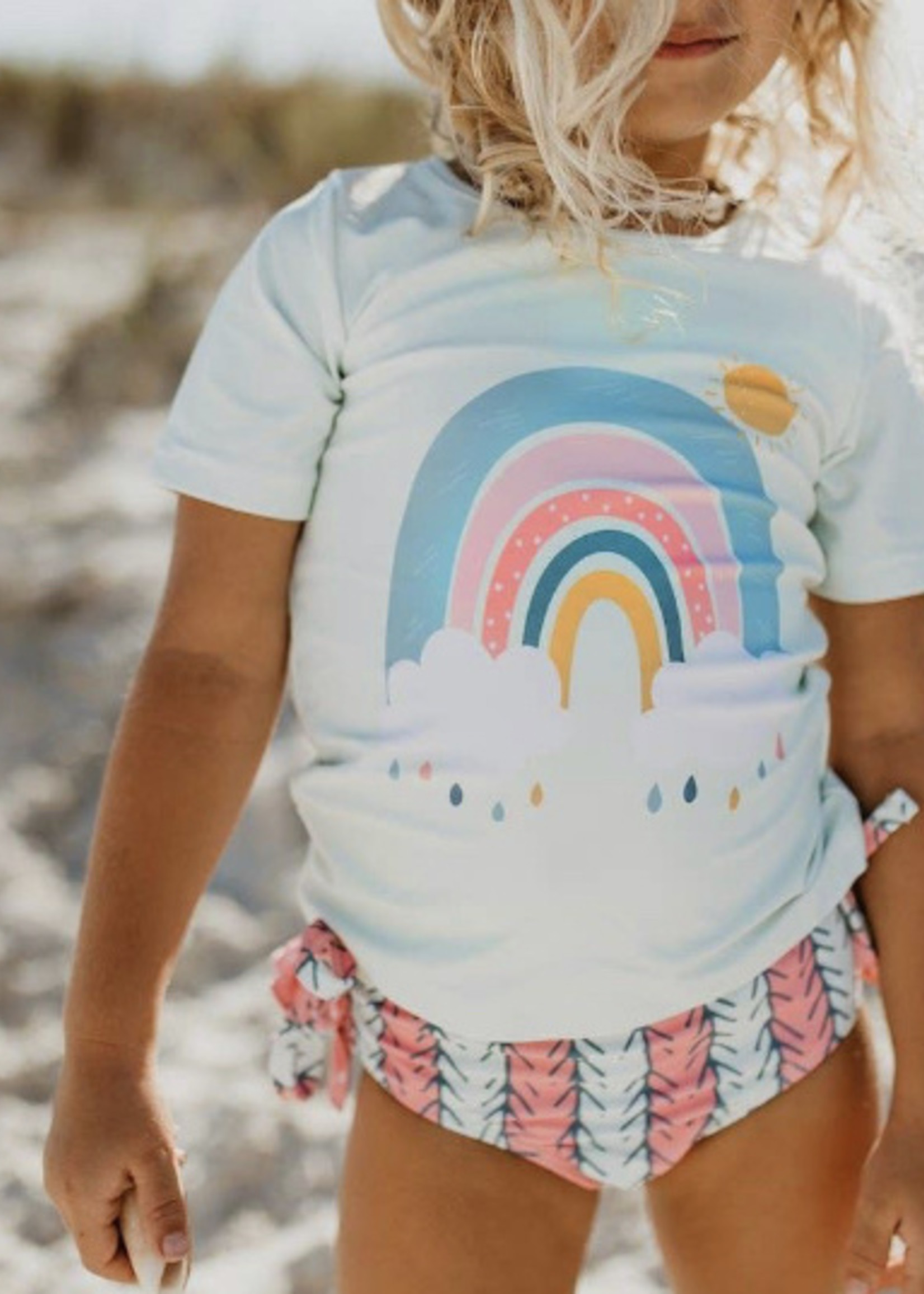 Oopie Daisy Mint Rainbow Rash Guard Swimsuit