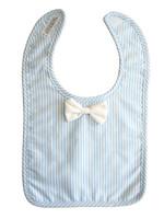 alimrose Bow Tie Bib in Blue Stripe