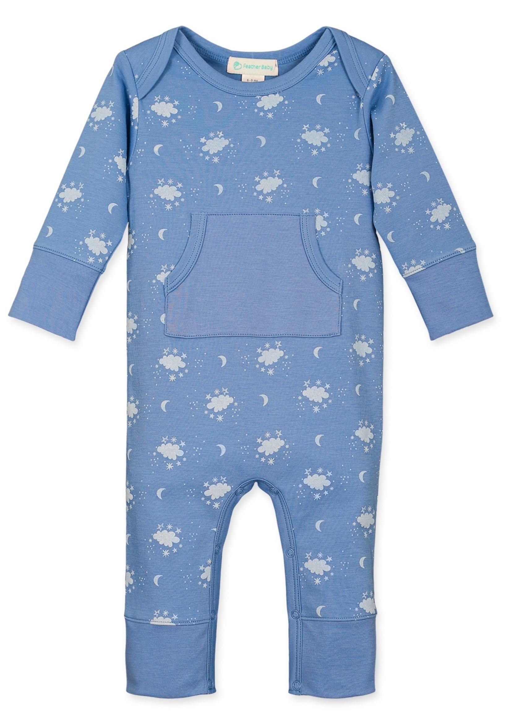 feather baby Night Sky on Cornflower Blue Romper
