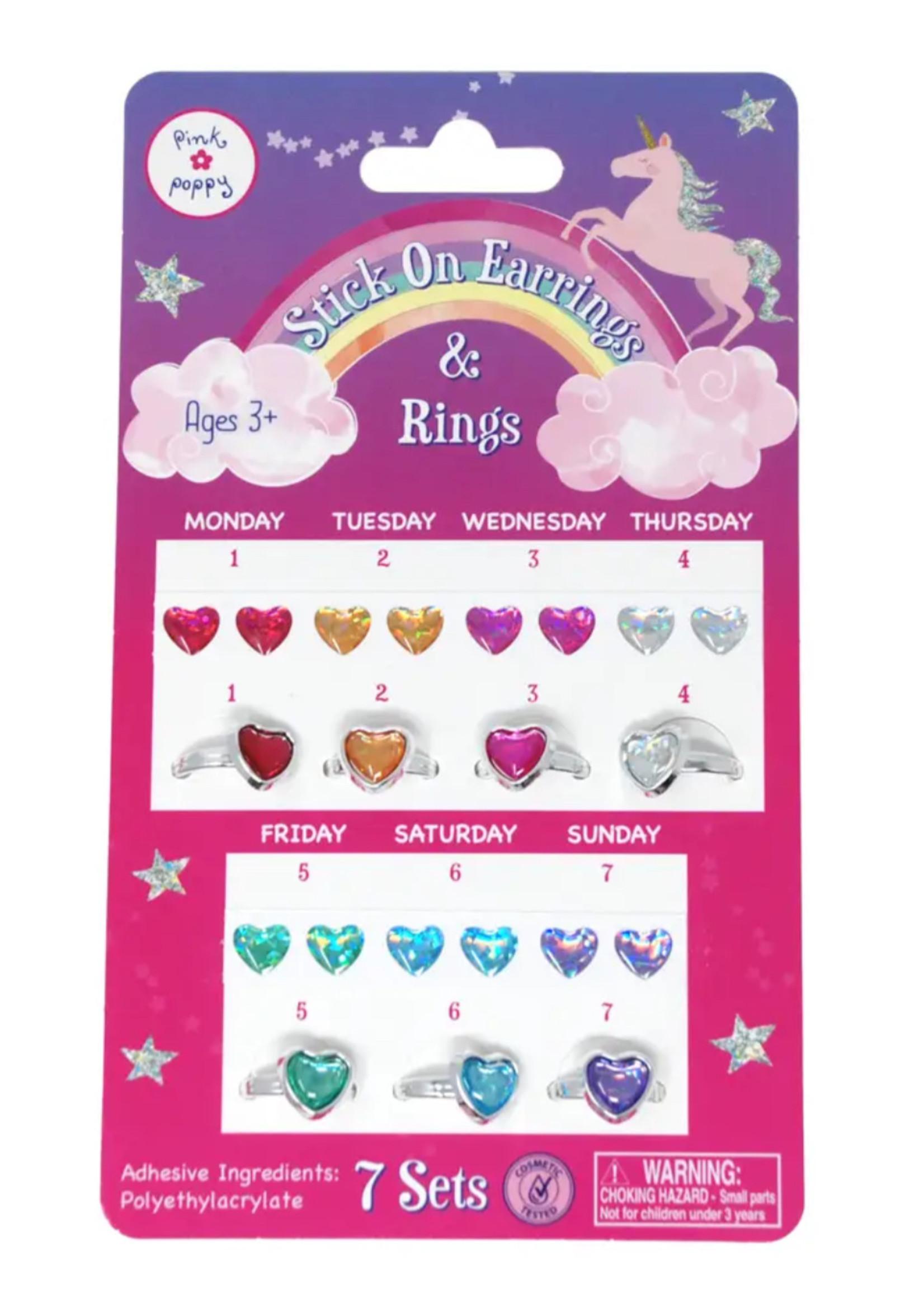 Pink Poppy 7 day Stick on Earrings & Ring Set